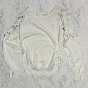 NY&CO cold shoulder rhinestone knit sweater m